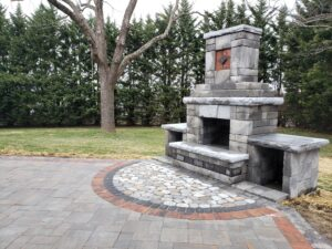 Custom Design & Build Outdoor Fireplace Hanover, PA Hardscapers DREAMscape Outdoors LLC