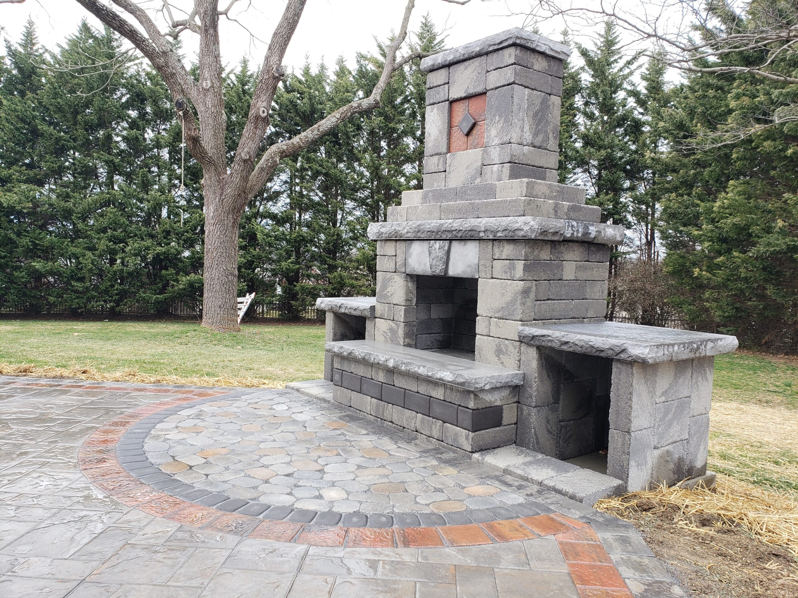 Custom Design & Build Outdoor Fireplace Hanover, PA Hardscapers DREAMscape Outdoors